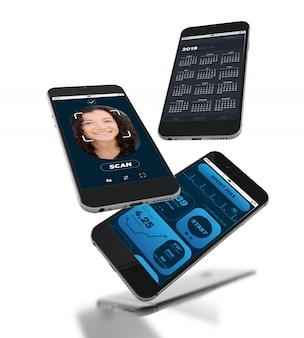 Smartphones 3d con pantalla de aplicaciones móviles diferentes