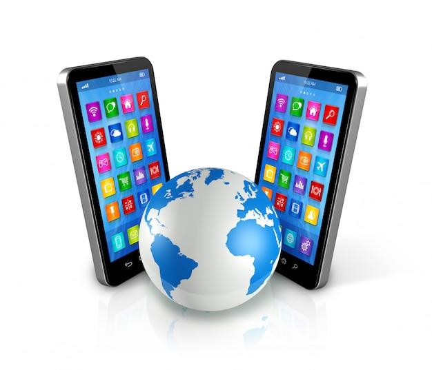 Smartphones alrededor del mundo, comunicación global