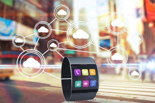 Smartwatch mostrando iconos de colores