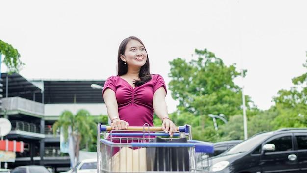 Smilling mujer asiática de compras con carro