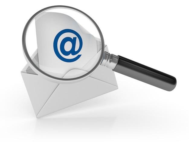 Sobre de correo electrónico con lupa