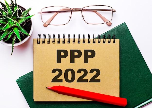 Sobre un fondo claro, gafas con montura dorada, una flor en una maceta, un cuaderno verde, un bolígrafo rojo y un cuaderno marrón con el texto ppp 2022. concepto de negocio