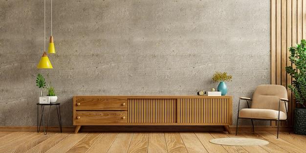 Sobre un fondo de pared de hormigón, un mueble de tv en una moderna sala de estar con un sillón y una planta. representación 3d
