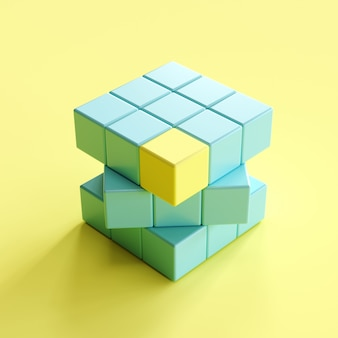 Sobresaliente pieza de borde amarillo en el cubo de rubik azul sobre fondo amarillo claro. idea de concepto minimalista