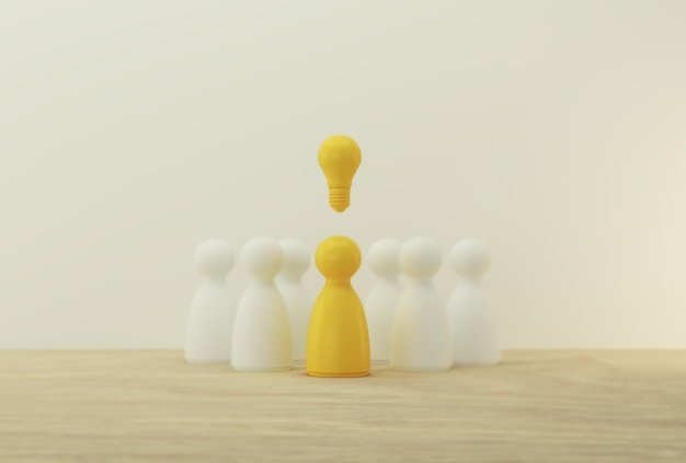 Sobresalientes personas amarillas de pie con el icono de la bombilla fuera de la multitud. recursos humanos, gestión del talento, contratación de empleados, líder exitoso del equipo de negocios.