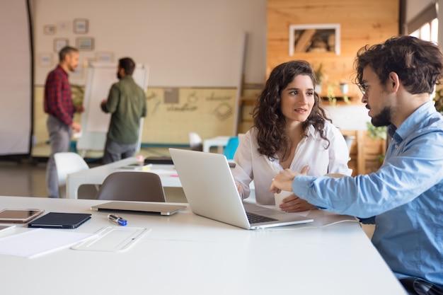 Socios del proyecto que discuten ideas y usan la computadora portátil juntos