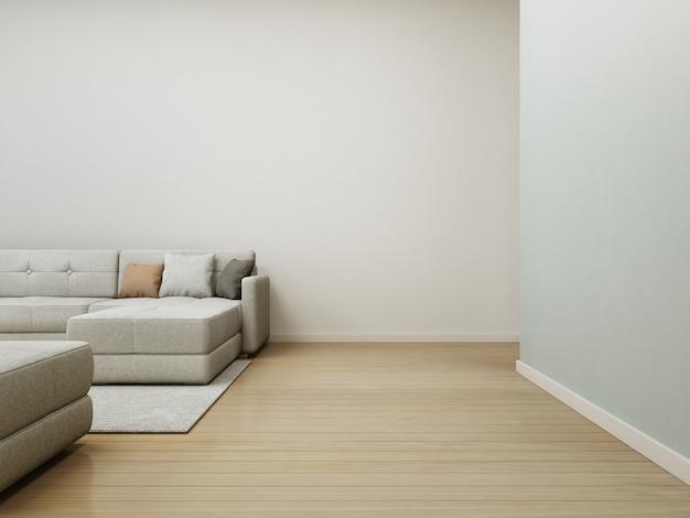 Sofá y alfombra en piso de madera con muro de hormigón blanco vacío