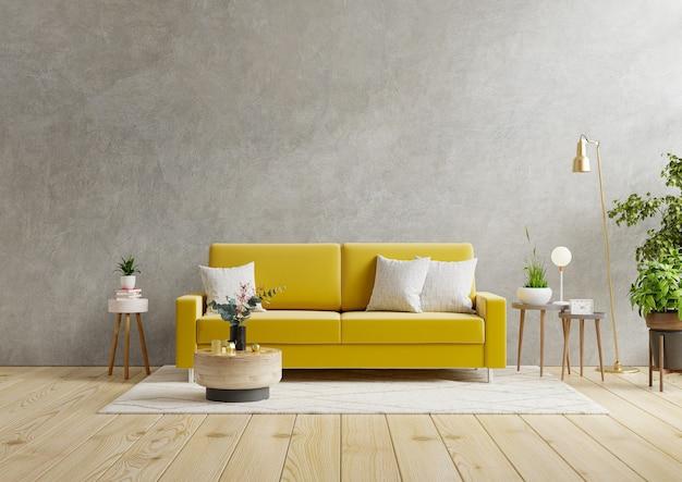 Sofá amarillo y una mesa de madera en el interior de la sala de estar con planta, muro de hormigón. representación 3d