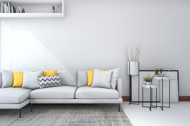 Sofá amarillo en salón blanco con bonita decoración.