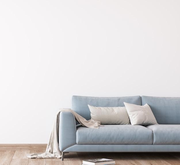 Sofá azul en la sala de estar