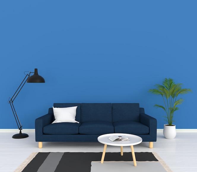 Sofá azul y lámpara en la sala de estar