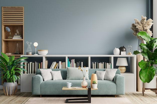 El sofá de la biblioteca para leer se encuentra en la parte posterior de la sala de estar, que tiene una pared azul. representación 3d