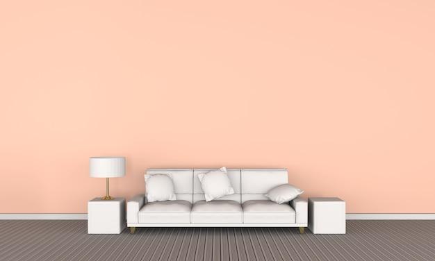 Sofá blanco para leer en la sala de estar. representación 3d