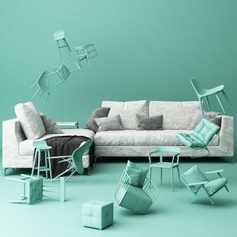 Sofá blanco rodeado de muchas sillas flotantes