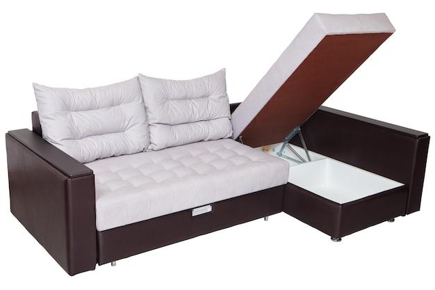 Sofá-cama convertible de esquina con espacio de almacenamiento aislado