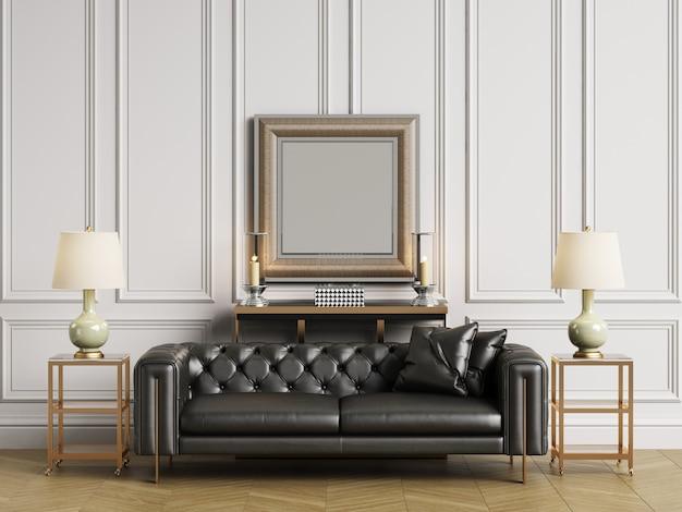 Sofá capitoné clásico, mesillas y lámparas en interiror clásico con espacio de copia. paredes blancas con molduras. suelo de parquet en espiga. representación 3d