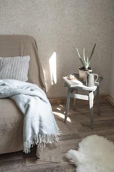 Sofá casero con objetos de decoración acogedora en el salón