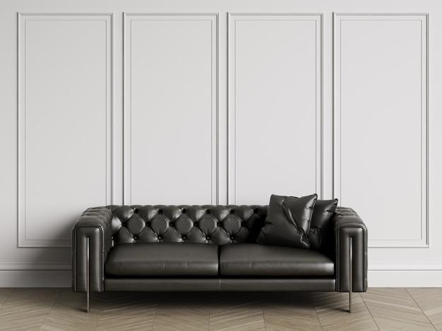 Sofá clásico capitoné en interior clásico con espacio de copia. paredes blancas con molduras. suelo de parquet en espiga. representación 3d