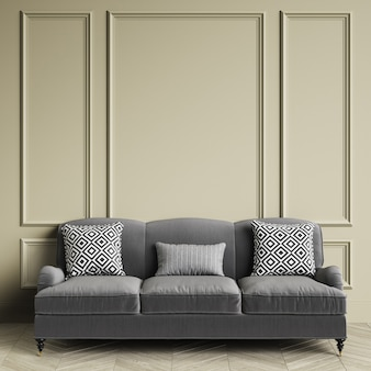 Sofá clásico gris, almohadas con estampado geométrico en blanco y negro en el interior clásico. paredes de color gris cálido con molduras, piso de parquet de roble en espiga. representación 3d