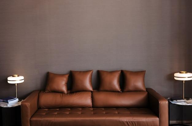 Sofá de cuero ceja para el diseño de interiores de la sala de estar