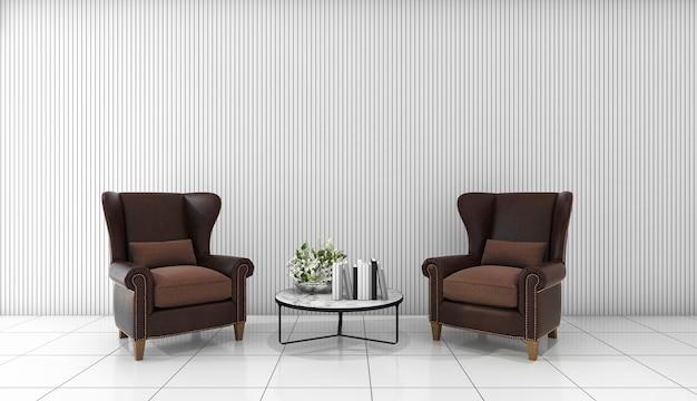 Sofá de cuero hermoso de la representación 3d en el sitio mínimo blanco