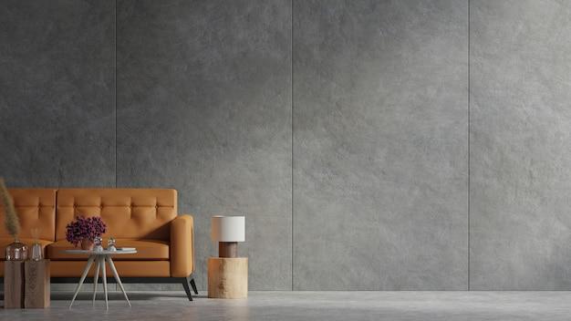 Sofá de cuero y una mesa de madera en el interior de la sala de estar con planta, muro de hormigón. representación 3d