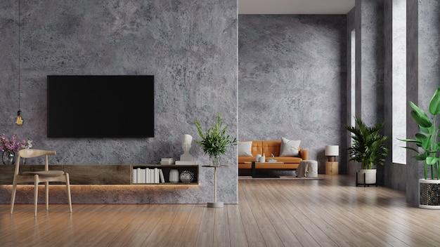 Sofá de cuero y una mesa de madera en el interior de la sala de estar con planta, tv en muro de hormigón. representación 3d
