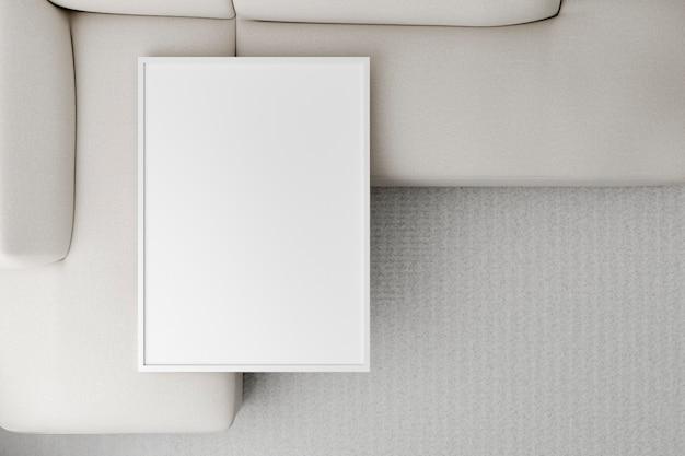 Sofá de diseño interior minimalista de vista superior