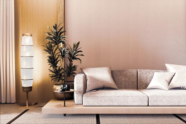 Sofá de diseño japonés de madera, sobre suelo japonés de madera y lámpara de decoración y florero de plantas. representación 3d