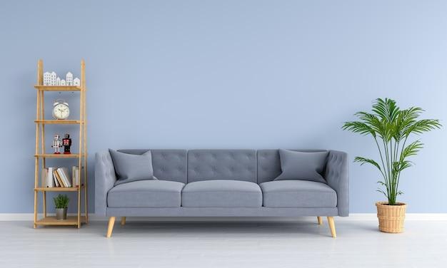 Sofá gris en la sala de estar