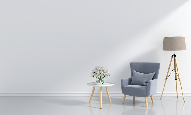 Sofá gris en la habitación blanca