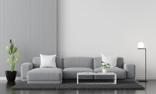Sofá gris en el interior de la sala de estar con espacio de copia