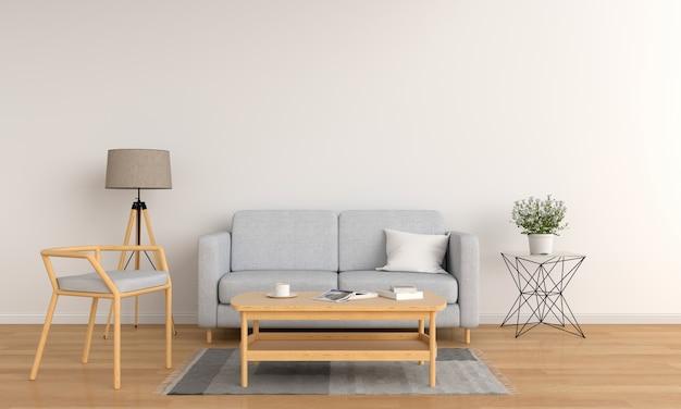Sofá gris y mesa de madera en salón blanco.
