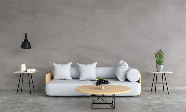Sofá gris y mesa de madera en salón.