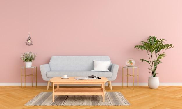 Sofá gris y mesa en salón rosa.