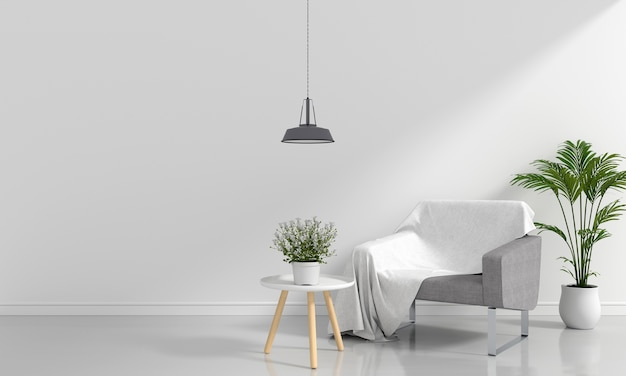 Sofá gris en la sala blanca para maqueta