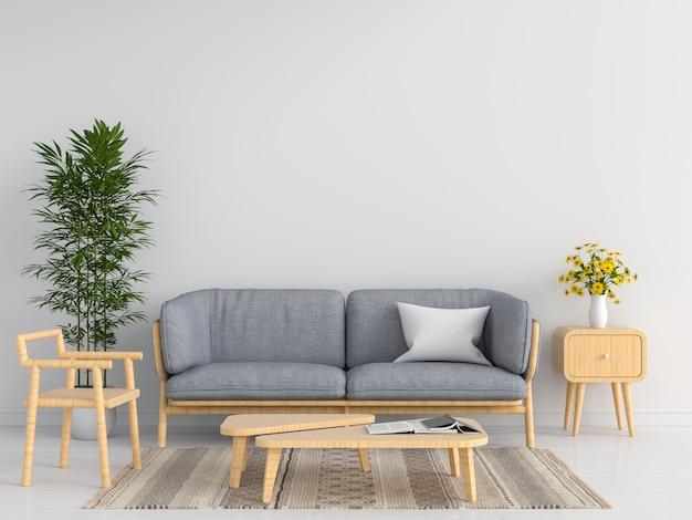 Sofá gris en salón blanco