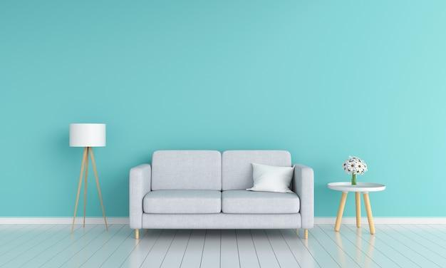 Sofá gris en salón para maqueta
