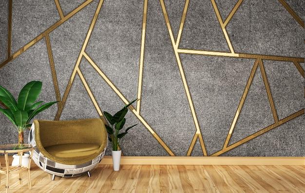 Sofá loft y plantas verdes en pared.