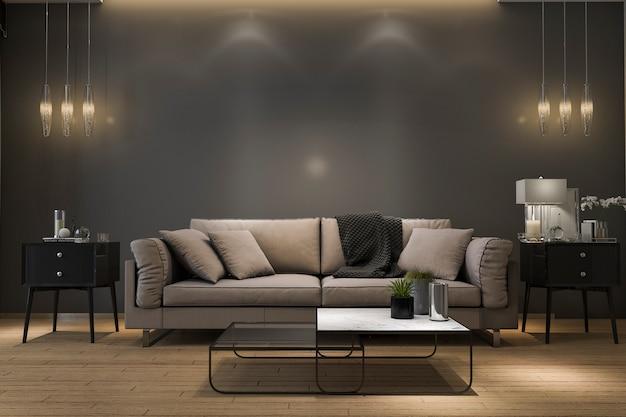 Sofá de lujo retro de la representación 3d en sala de estar negra mínima con la lámpara