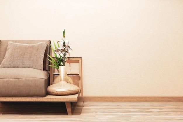 Sofá de madera en la habitación con decoración.
