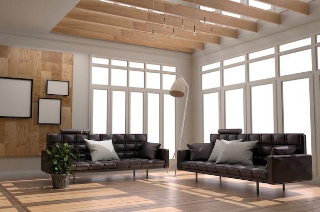 Sofá marco almohada lámpara plantas ventana - estilo madera. representación 3d