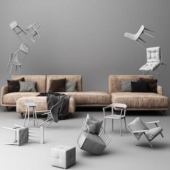Sofá marrón rodeado de muchas sillas flotantes