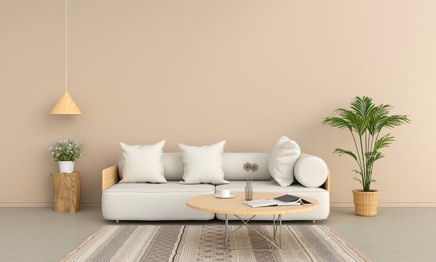 Sofá y mesa redonda de madera en salón marrón.