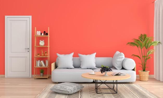 Sofá y mesa en salón naranja.