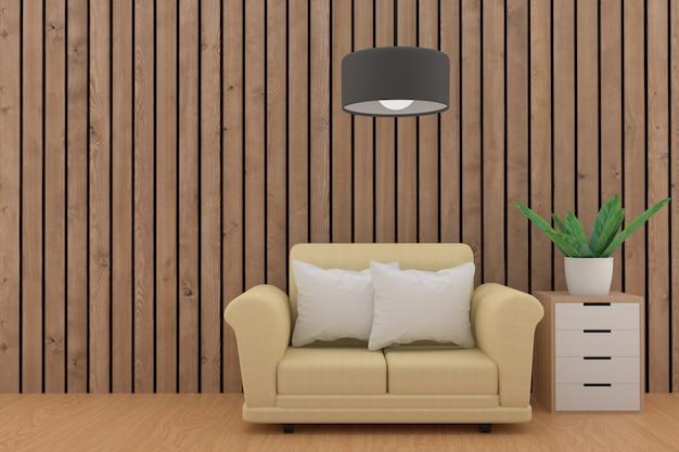 Sofá minimalista con lámpara y planta en sala de tablones de madera en representación 3d