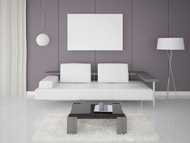 Sofá moderno, póster en salón contemporáneo
