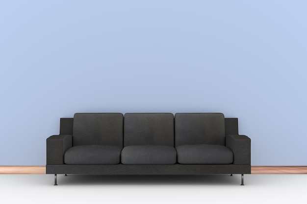 Sofá negro 3d y pared azul