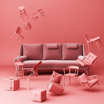 Sofá oscuro rodeado de muchas sillas flotantes.