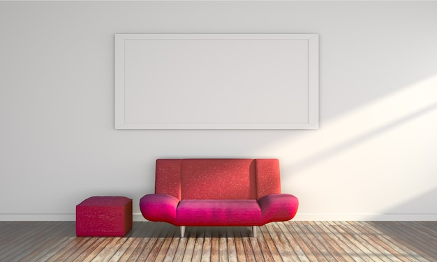 Sofá rojo 3d en el piso de madera y marco en la pared blanca